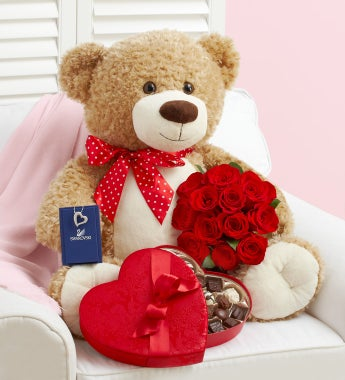 Big Bear with Red Roses, Sparkle, and Sweets