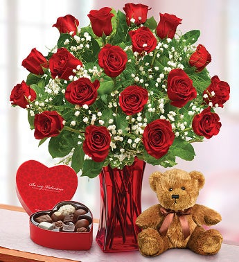 2 Dozen Red Roses with Chocolates & Bear