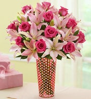 Magnificent Pink Rose and Lily + Free Vase