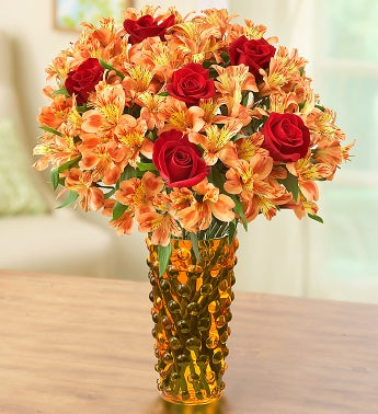 Fall Rose and Peruvian Lily Bouquet