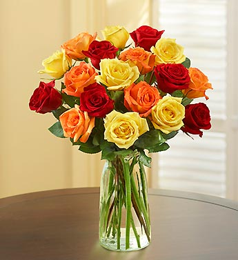 Autumn Rose Bouquet, 18 Stems + Free Vase