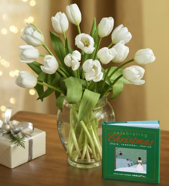 Winter Snowflake Tulips with Book + Free Vase