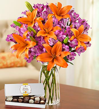 Autumn Lily Bouquet with Chocolate + Free Vase