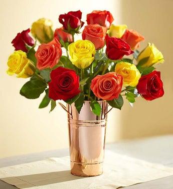 18 Stem Harvest Roses + Free Vase