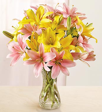 Pink and Yellow Lily Bouquet