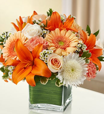 Peach, Orange and White Cube Arrangement