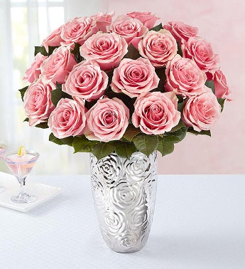 Pink Rose Bouquet, 12-24 Stems + Free Premium Vase