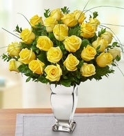Premium Long Stem Yellow Roses in Silver Vase