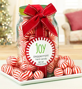 Holiday Joy Peppermint Balls in Mason Jar