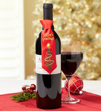 Season's Greetings Musical Tie & Alazar� Merlot