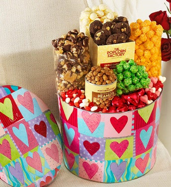 Popcorn Heart Deco Snack Asst. Tin