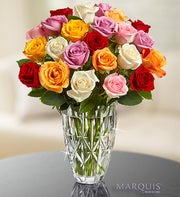 Marquis by Waterford� Vase + 24 Multi Roses