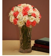 Two Dozen Pink & White Combination Roses