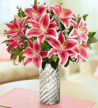 Stunning Pink Lilly Bouquet in a Vase