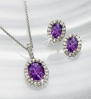 Amethyst & Diamond Pendant and Earring Set