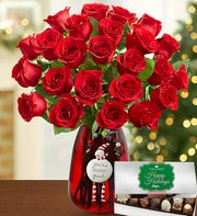 Red Rose Holiday Bouquet Bundle
