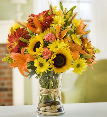 sunflowers, lilies, mums, harvest flowers in vase