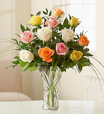 /one dozen multicolored roses in lenox vase