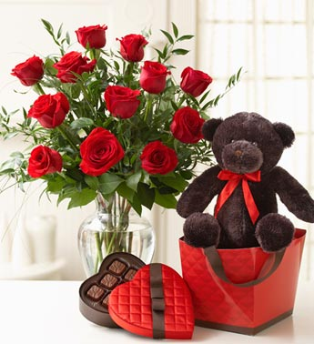 /one dozen red roses, with plush & chocolate