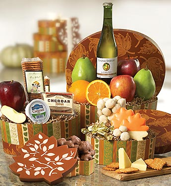 harvest 3 tier tower with fruit & gourmet treats