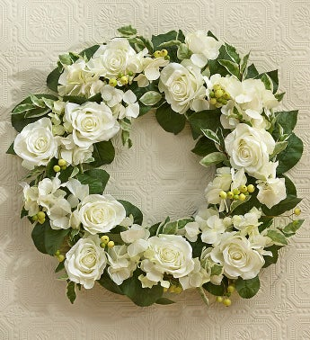 Silk White Roses and Hydrangea Wreath