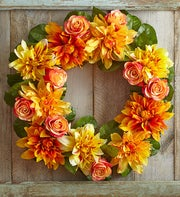 Silk Dahlia & Rose Wreath - 24""