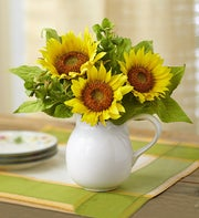 Silk Pitcher of Sunflowers