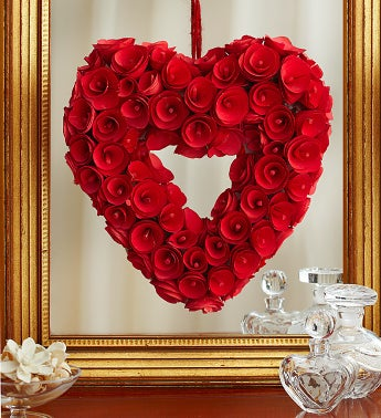 Red Heart Rose Wreath