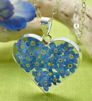 Fresh Forget-Me-Not Heart Pendant