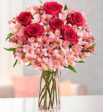 True Love Rose & Peruvian Lily Bouquet + Free Vase