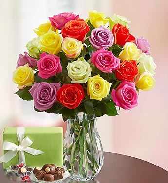 Two Dozen Assorted Roses + Free Vase & Chocolate