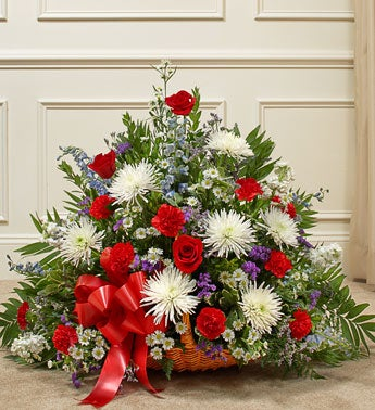 Thoughts and Prayer Fireside Basket-Red/White/Blue