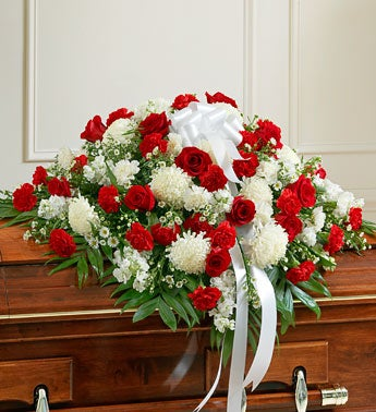 Cherished Memories Half Casket Cover-Red & White