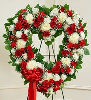 Always Remember Floral Heart Tribute-Red & White