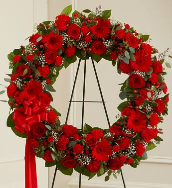 Serene Blessings Standing Wreath - Red