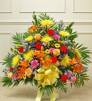 Heartfelt Tribute Floor Basket Arrangement- Bright