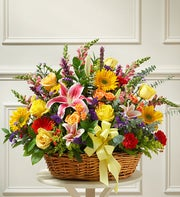 Bright Flower Sympathy Arrangement in Basket
