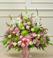 Heartfelt Tribute Floor Basket Arrangement- Pastel