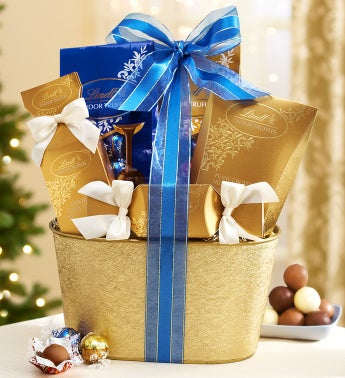 Golden Lindt Chocolates Gift Basket
