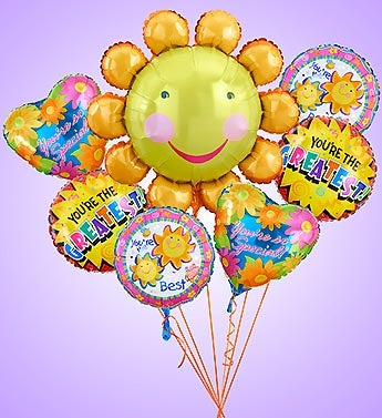 Smile Flower Mylar Bundle
