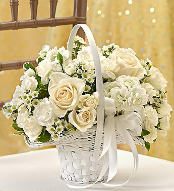 White wedding flower girl basket