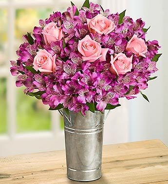 Light Pink Rose and Purple Peruvian Lilies