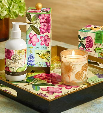 Botanical Tray, Soy Candle and Lotion Set