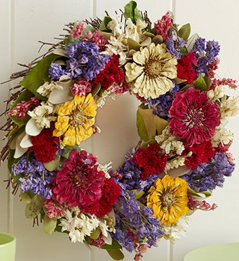 Blooming Zinnia Preserved Wreath