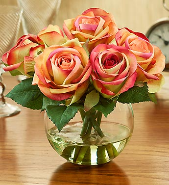Silk Bi-Color Rose Water Bouquet