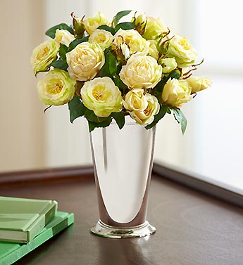 Silk White Roses in Metal Julep Cup