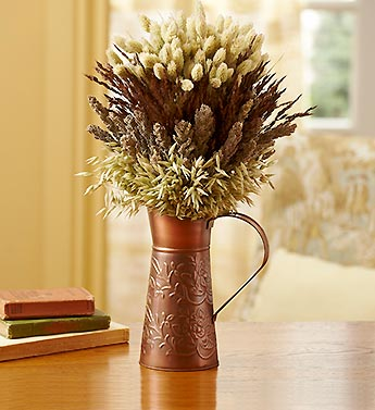 Natural Grasses in Copper Pitcher