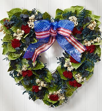 Preserved Americana Heart Wreath - 16""