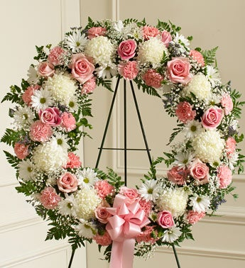 Pink and White Standing Wreath