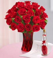 Message in a Bottle� with Red Roses, 12-24 Stems